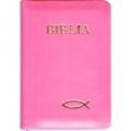 Biblie lux, coperta piele roz, index pe cotor