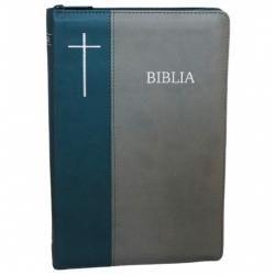 Biblia mare lux, nuante gri, index fermoar