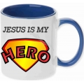 Cana culoare albastra, Jesus is my Hero!