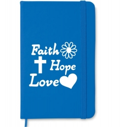 Notebook A6, coperta royal blu, Faith, Hope, Love!