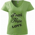 Tricou femei, verde deschis Faith, Hope, Love