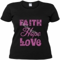 Tricou negru  femei,mov - Faith, Hope, Love