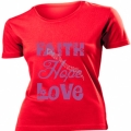 Tricou rosu femei,mov - Faith, Hope, Love