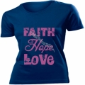 Tricou bleumarin femei,mov - Faith, Hope, Love